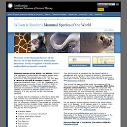 Mammals Species of the World