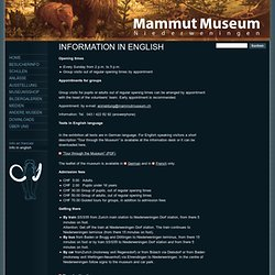 Mammutmuseum Niederweningen - Info in english