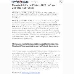 Manabadi Inter Hall Tickets 2020