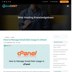 How to Manage Email Disk Usage in cPanel