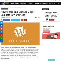 How to Use and Manage Code Snippets in WordPress?