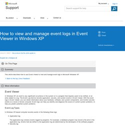 How to view and manage event logs in Event Viewer in Windows XP