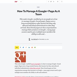 How To Manage A Google+ Page As A Team