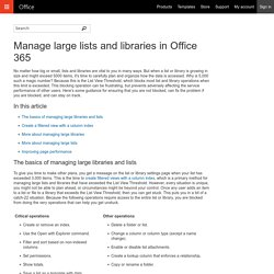 Manage large lists and libraries in Office 365