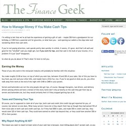 How to Manage Money If You Make Cash Tips