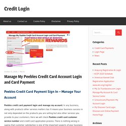 Manage My Peebles Credit Card Account Login and Card Payment