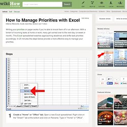 How to Manage Priorities with Excel: 15 steps (with pictures)