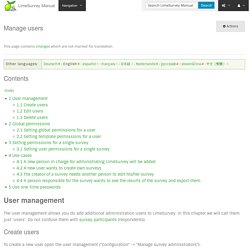 Manage users - LimeSurvey Manual