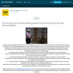 The things Your Project Management Consulting Team Should Acknowledge: gemengserv