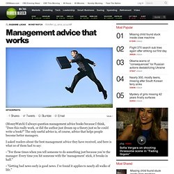 Management advice that works