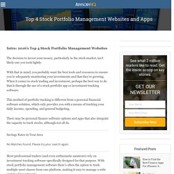 Top 4 Stock Portfolio Management Websites and Apps – AdvisoryHQ