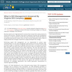 What Is SEO Management Answered By Virginia SEO Company