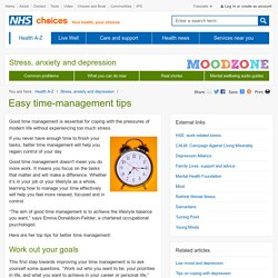 Easy time-management tips - Stress, anxiety and depression