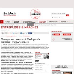 Management : comment développer le sentiment d'appartenance
