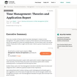 Time Management: Theories and Application - 3158 Words