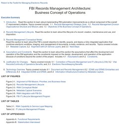 FBI Records Management Architecture: Business Concept of Operations