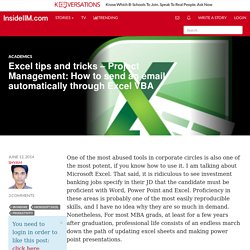 Excel tips and tricks – Project Management: How to send an email automatically through Excel VBA