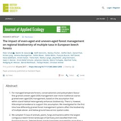 BRITISH ECOLOGICAL SOCIETY 05/06/17 The impact of even‐aged and uneven‐aged forest management on regional biodiversity of multiple taxa in European beech forests