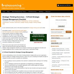 Strategic Thinking Exercises - 13 Point Strategic Change Management Checklist