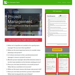 Project Management: Business English Questions