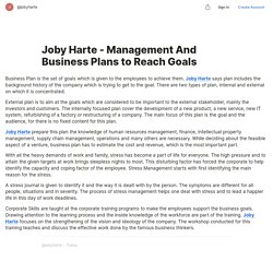 Joby Harte - Management And Business Plans to Reach Goals — Teletype