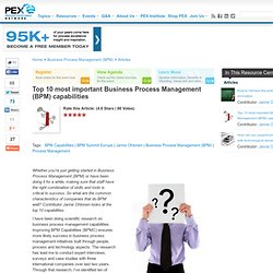 Top 10 most important Business Process Management (BPM) capabilities by Janne Ohtonen