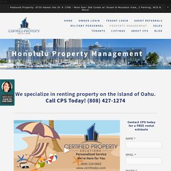 Hawaii Property Management, Certified Property Solutions
