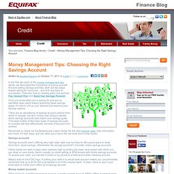 Money Management Tips: Choosing the Right Savings Account | Equifax Finance Blog