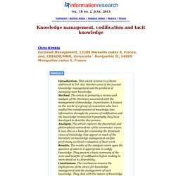 Knowledge management, codification and tacit knowledge