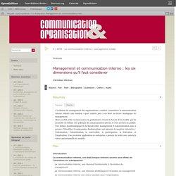 Management et communication interne: les six dimensions qu'il faut considerer