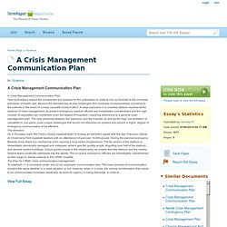 A Crisis Management Communication Plan - Essays - Lshurley75