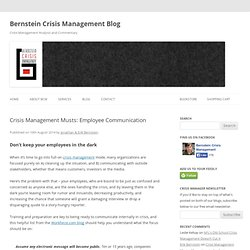 Crisis Management Musts: Employee Communication