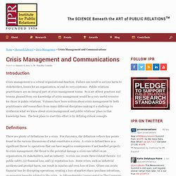 Crisis Management and Communications - Institute for Public Relations