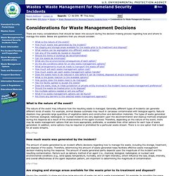 Waste Management Considerations | Waste Management for Homeland Security Incidents