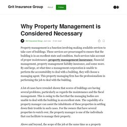 Why Property Management is Considered Necessary