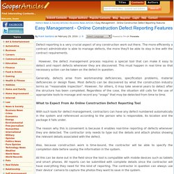 Easy Management - Online Construction Defect Reporting Features