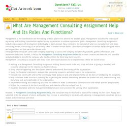 What Are Management Consulting Assignment Help And Its Roles And Functions? blog by stella brown