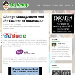 Change Management and the Culture of Innovation