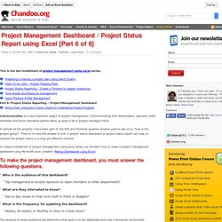 Project Management Dashboard, Project Status Report using Excel - Templates and Downloads