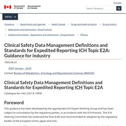 Clinical Safety Data Management Definitions and Standards for Expedited Reporting ICH Topic E2A: Guidance for industry