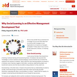 Why Social Learning Is an Effective Management Development Tool