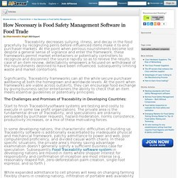 How Necessary is Food Safety Management Software in Food Trade by Dharmendra Singh