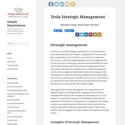 Tesla Strategic Management - Sample Dissertations