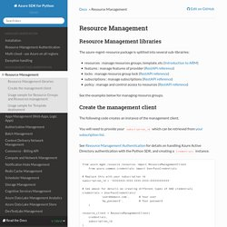 Resource Management — Azure SDK for Python 2.0.0 RC6 documentation