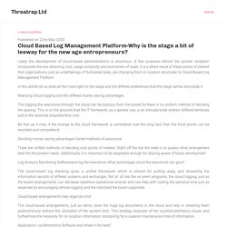 Cloud Based Log Management Platform-Why is the stage a bit of leeway for the new age entrepreneurs?