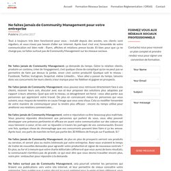 Réseaux Sociaux : Ne faites jamais de Community Management pour votre entreprise - Formation Institut Centaure