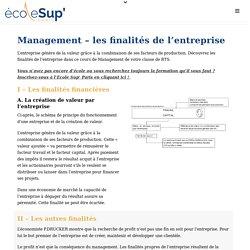 Cours de BTS Management - Les finalités de l'entreprise