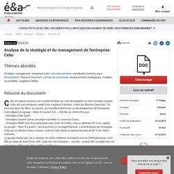 Analyse de la stratégie et du management de l'entreprise Celio