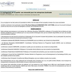 Le management de la qualité: une nécessité pour les entreprises burkinabé - Ismaël T. SAWADOGO