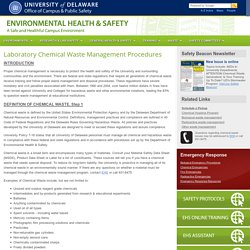 Chemical Waste Management - Environmental Health & Safety - University of Delaware
